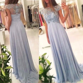 Evening Dress for Pregnant Scoop A Line Beaded Chiffon Cap Sleeve Graduation Maternity Party Gown prom dresses with rhinestones