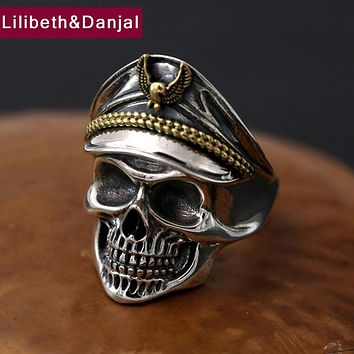 2017 Men Ring 925 Sterling Silver Jewelry Vintage Punk Pirate Captain Skull Adjustable Finger Ring Women Gift Fine jewelry FR57