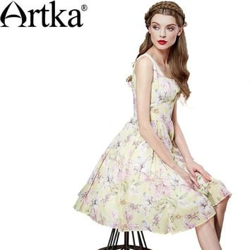 Artka Women's Summer New Printed Cotton Dress Vintage Square Collar Sleeveless Empire Waist Knee-Length A-Line Dress LA12569C