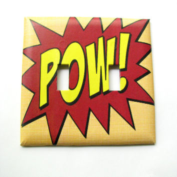 Double Light Switch Cover - Light Switch Plate Vintage Comic Book Word Art POW