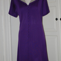 60s Mod Dress, Purple, Shift, Studded Collar, Mini, Size M/L