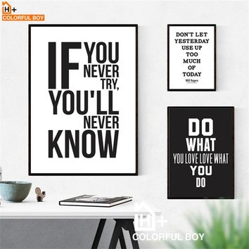 COLORFULBOY Motivational Inspiring Quote Wall Art Print Canvas Painting Nordic Poster Black White Wall Pictures For Living Room