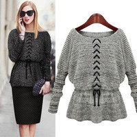 Drawstring Long-Sleeve Knitted Shirt