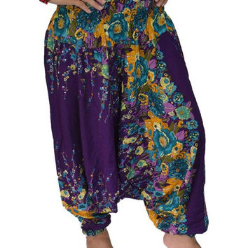 Dark Purple flowers stripes Harem Pants/Yoga Boho Pants/Print design/Drawstring elastic waist/Comfortable wear fit most/Long dress pants.