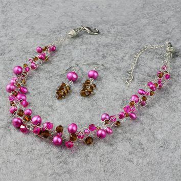 Hot pink brown pearl chunky crocheted wiring statement necklace Bridesmaids gifts Free US Shipping handmade Anni Designs