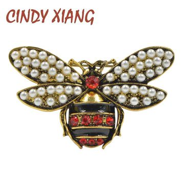 CINDY XIANG 2 Colors Choose Rhinestone and Pearl Bee Brooches for Women Vintage Jewelry Fashion Insect Brooch Pin High Quality