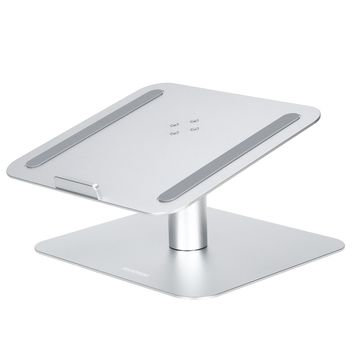 Ergonomic Aluminium 360 Degree Rotating Tablet Laptop Stand Riser Holder for Macbook/ iPad/ Universal Tablet and Notebook PC Up To 17 Inches (Silver)