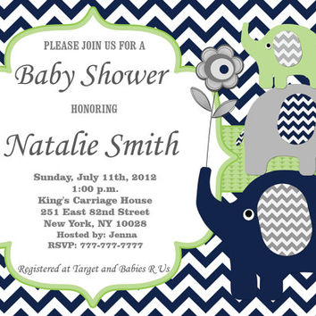 Baby Shower Invitation Boy Baby Shower Invitation Invite Elephant Baby Shower Invitation Baby Shower Invitations (80a)-Free Thank You Card