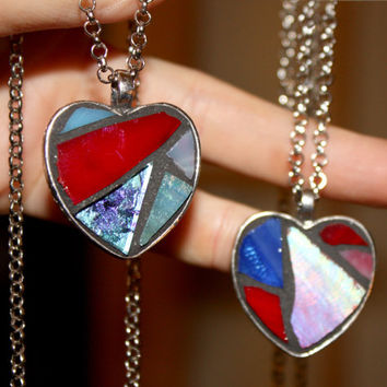 Glass Mosaic Heart Necklace, Red Glass Heart Necklace