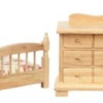 1:12 Scale Single Bedroom Set, Oak 4 pc #00305