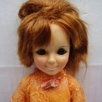 1st Ed. Crissy Ideal Teen Doll Growing Hair Original Orange Lacy Dress 1969