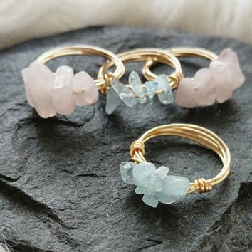 Aquamarine Gemstone Ring, Wire Wrap Ring