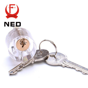 NED Cutaway T-Lock Transparent Lock Training Skill Professional Visable Practice Padlocks Lock Pick For Locksmith With Two Keys