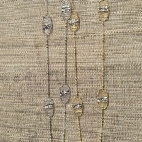 Wire Wrap Ovals Beaded Chain Necklace - Gold or Silver