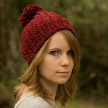 Pom Pom Hat, Women's Beanie, Burgundy Red Crochet Ski Cap