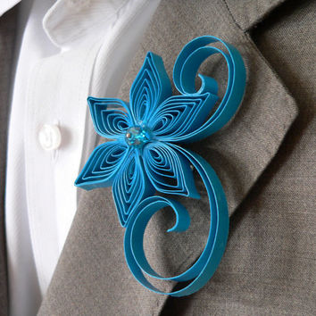 Malibu Blue Boutonniere, Ocean Buttonhole, Malibu Wedding Boutonniere, Sea Blue, Water Blue