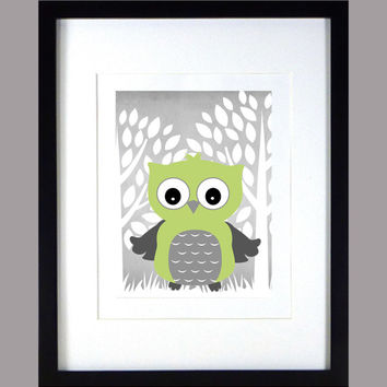 Green Owl with White Trees on Chalkboard Gray, Baby Nursery Art CUSTOMIZE YOUR COLORS 8x10 Prints Nursery Decor Print Art Baby Room Decor