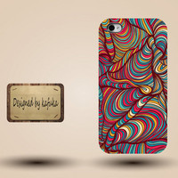iphone case, i phone 4 4s 5 5s 5c case, iphone4 iphone4s iphone5 case, plastic rubber silicone cases cover, colorful wave pattern  p1189