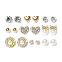 Romantic Sparkle Stud Earrings Set of 9