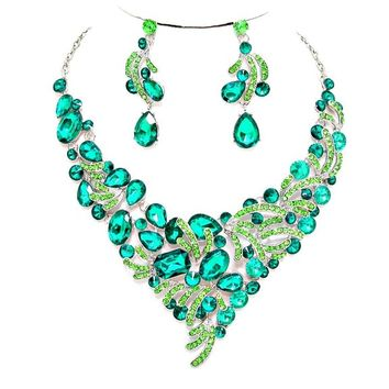 Emerald Green Crystal Statement Necklace Earrings Set Affordable Wedding Jewelry Prom Evening