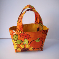 Sunflowers and Pumpkins Orange Teeny Tote with  Matching  Headband