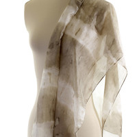 Khaki grey green silk scarf, naturally dyed shibori tie dyed green striped shawl, grey silk scarf, eco dyed with ivy plants iron water