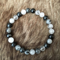 Men's Rutilated Quartz Bracelet, Beaded Bracelet