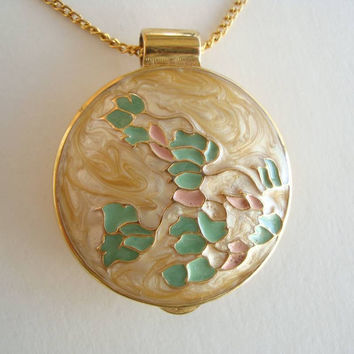 Mary Kay Enameled Perfume Locket Slider Pendant Necklace Stylistic Floral Jewelry