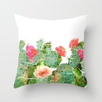 scratched cactus Throw Pillow by clemm