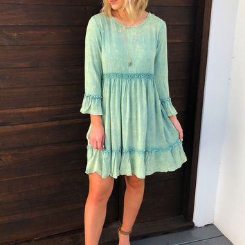 Just Enough Time Dress: Dusty Mint