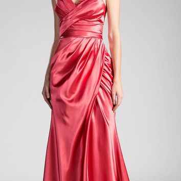 Strapless Long Formal Dress Lace Up Back Coral