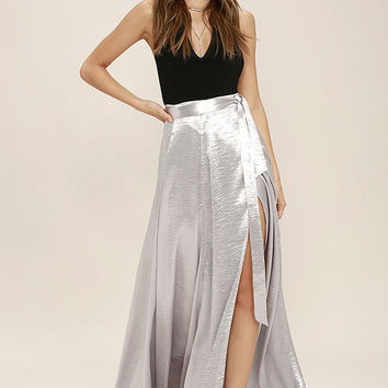 On Holiday Silver Satin Maxi Skirt