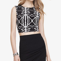 PRINTED CROPPED MUSCLE TANK from EXPRESS