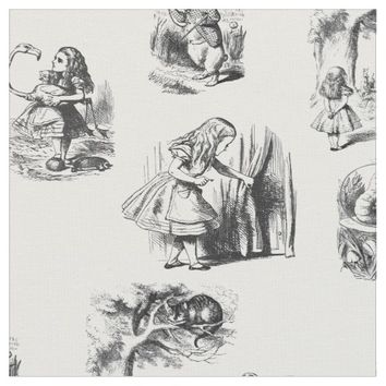 Alice in Wonderland Black and White Fabric