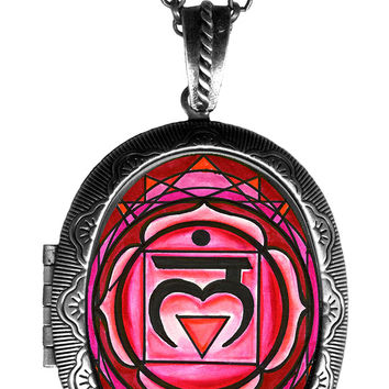 1st Chakra Muladhara Love Root Big Locket Pendant Empty or Solid Perfume