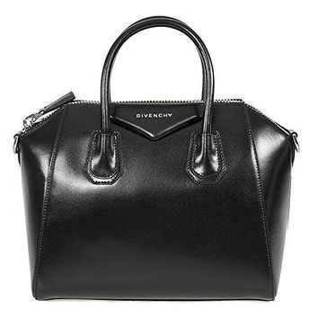 Givenchy Women's Antigona Sugar Goatskin Leather Satchel Bag, Black