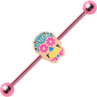 Pink Anodized Titanium Pastel Sugar Skull Industrial Barbell | Body Candy Body Jewelry