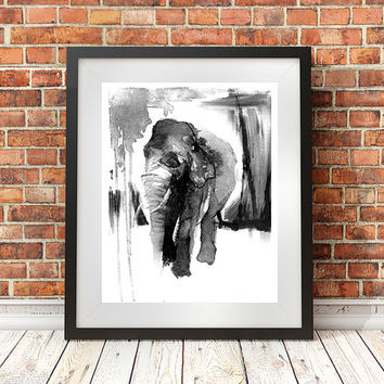 Elephant painting,16x20, elephant print, animal art, unique gift, ink drawing, illustration, ink painting, naturalist, animal painting