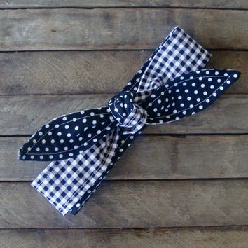 Skinny Headband Navy Blue Gingham over Navy Blue Polka Dots Headscarf Retro Pin up Rockabilly Teen Women Girl Hair Accessory