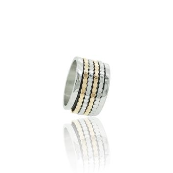 Hammered Silver and Gold Meditation Ring