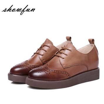 Women's Platform Flats Gradient Toe Lace-up Oxfords Brand Designer Carving British Style Female Footwear Genuine Leather Shoes