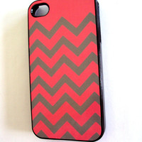 Girly iPhone 4 / 4S Case by Sassy Cases Pink and Gray Chevron