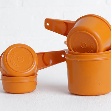 Vintage Orange Tupperware Measuring Cups, Set of 5 With Some Flaws