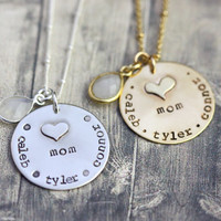 Hand engraved Mom necklace, name necklace for mom, mommy jewelry, children names, hand stamped charms for mom, gold and silver mom necklace