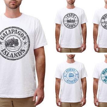 Stamps of countries-2 Printed Cotton Round Neck Men T-shirt MTS_00
