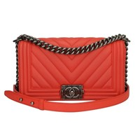 Chanel Old Medium Peachy Red Chevron LeBoy Calfskin with Ruthenium Hardware 2016