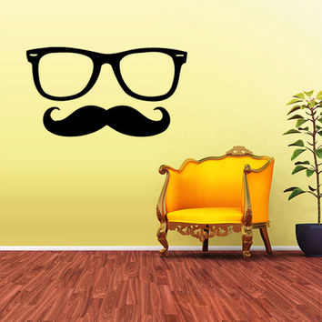 rvz1609 Wall Vinyl Sticker Decals Hipster Glasses Frames Sunglasses Mustache