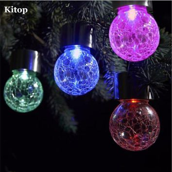 Kitop 4 pcs Solar Hanging Led Lights Crackle Glass Globe Pendant lamp Color Changing Decorative Lighting for Garden Party Yard