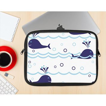 The Navy Blue Smiley Whales Ink-Fuzed NeoPrene MacBook Laptop Sleeve
