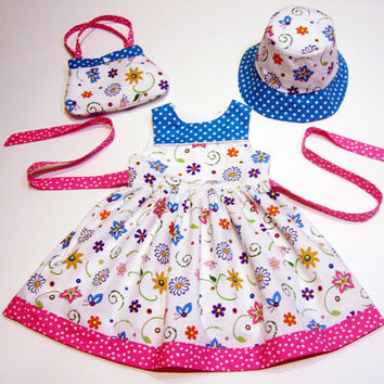 Toddler 2T dress with matching reversible hat and toddler purse floral dress birthday dress boutique dress sundress sun dress toddler hat